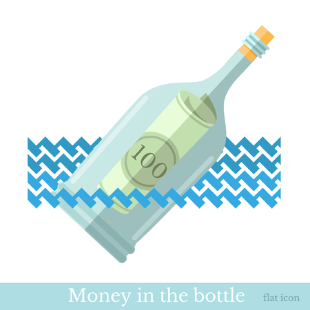 augmentation: flat icon bottle with bill on wave isolated on white