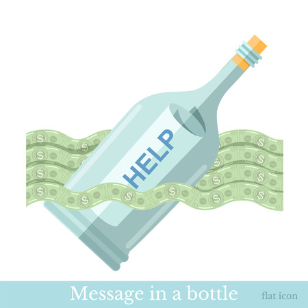 augmentation: flat icon bottle with letter help on wave from bill isolated on white Illustration