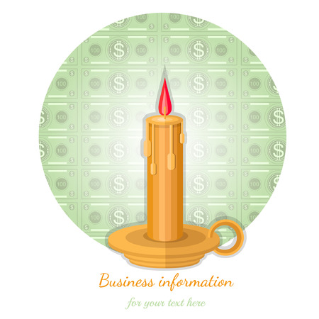 augmentation: flat background with candle flashed money Illustration
