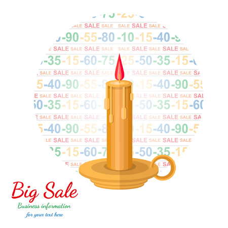75 80: flat background with candle flashed discount Illustration