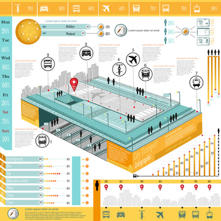 trackless: city transport infographic abstract city underground airport diagrams and transport icons