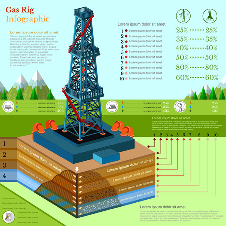 oil derrick tower or gas rig infographic with landscape Vector