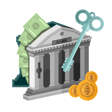 augmentation: flat concept business icon money from bank safe with key