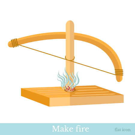 friction: bow friction stick and make fire flat icon