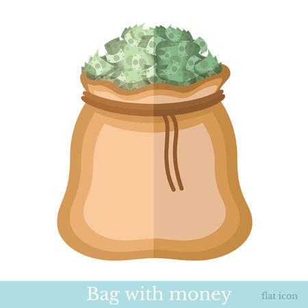 augmentation: flat icon bag with bank notes isolated on white Illustration