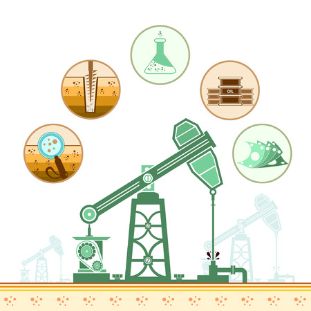 oil derrick: color oil derrick and circle icons with stages of process oil production Illustration
