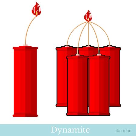 flat icon dyinamite and bundle dynamite sticks isolated ob white Illustration