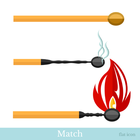 flat match new burn and burned match isolated on white background