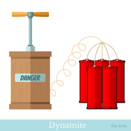 flat icon  detonator and bundle dynamite sticks isolated ob white