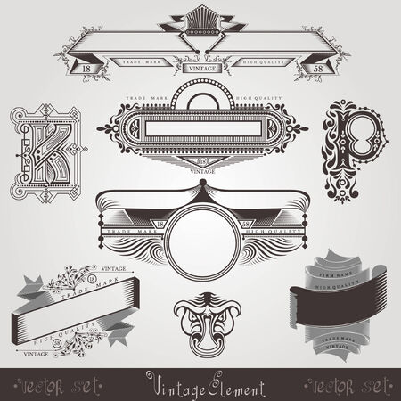 silhouete: vintage engraving banners with different letter and pattern Illustration