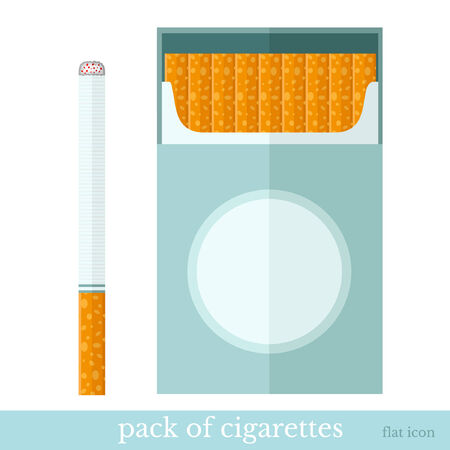 cigarette pack: flat template open pack of cigarettes and one cigarette near