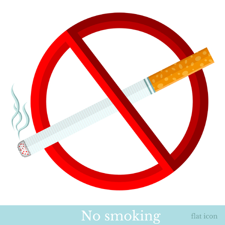 smoking cigarette: flat sign  no smoking cigarette with red circle Illustration