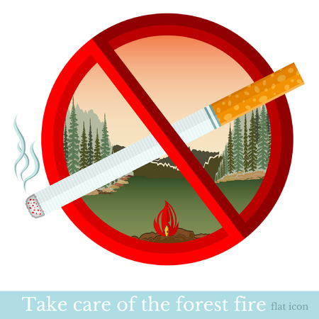 no smoking in forest park.red circle with cigarette Vector