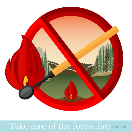 no fire in forest or park.red circle with match Vector