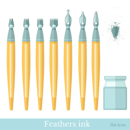 inkwell: flat set of ink feathers with inkwell and blur Illustration