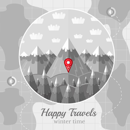 Flat Vintage Black And White Background Vector Map With Circle ...