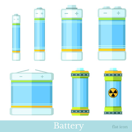accumulator: flat syle set of color battery and accumulator Illustration