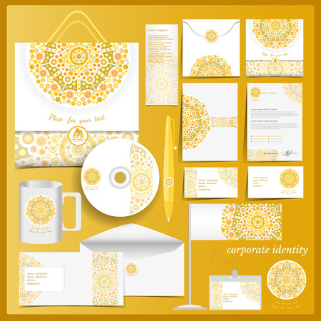 branding: White corporate identity template with yellow mosaic elements.Vector company style for brandbook and guideline. Illustration