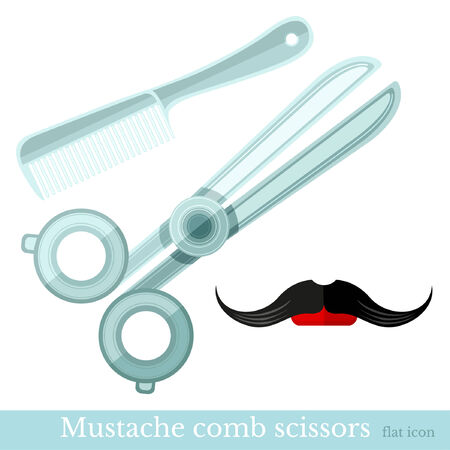 barbershop: comb mustache scissors barbershop set Illustration