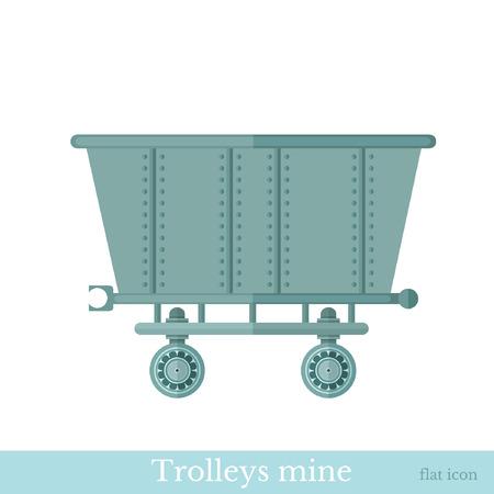 kopalni: Wózek na płaskim białej kopalni Ilustracja