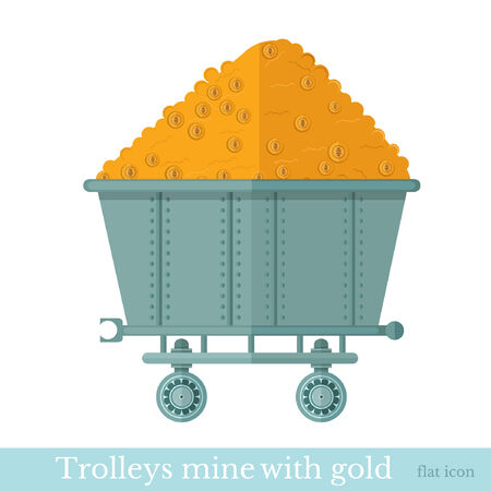 trolley mine with gold coin on white