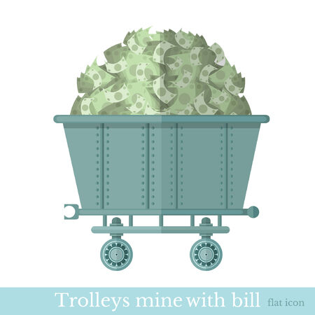 resourse: flat trolley mine with bank note bill on white Illustration