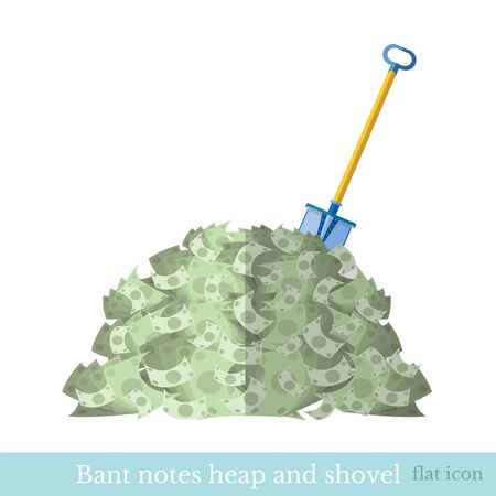 shove: flat  heap of bank note bill with shove Illustration