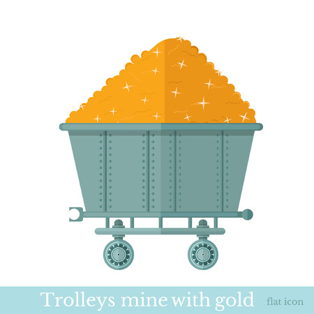 gold mine: trolley mine with gold nugget on white