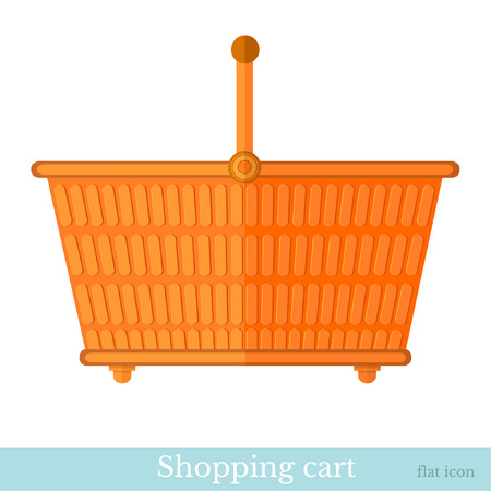hand basket: hand orange shoping basket flat