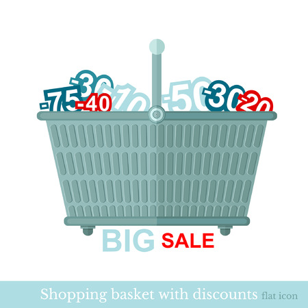 shoping: flat shoping basket with discount on white