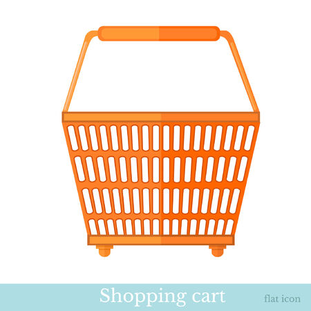 hand basket: hand shoping orange basket back view Illustration
