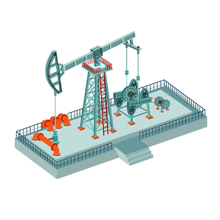 geological: oil derrick complex on white
