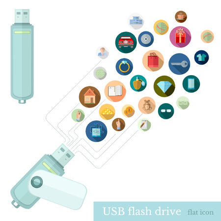 flash drive: usb flash drive with icons of different informstion upload or get from it