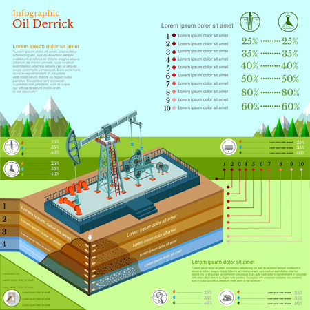 oil derrick: oil derrick tower or gas rig infographic with landscape Illustration