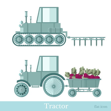 plowing: flat agricultural tractor with trailer and plowing station