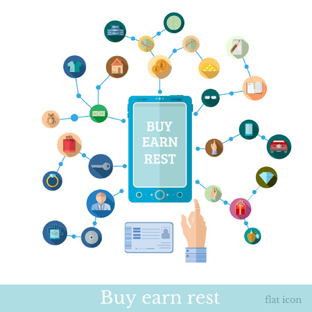 bankcard: Flat design marketing illustration with set of icons for E-shoping and business operationput with phone