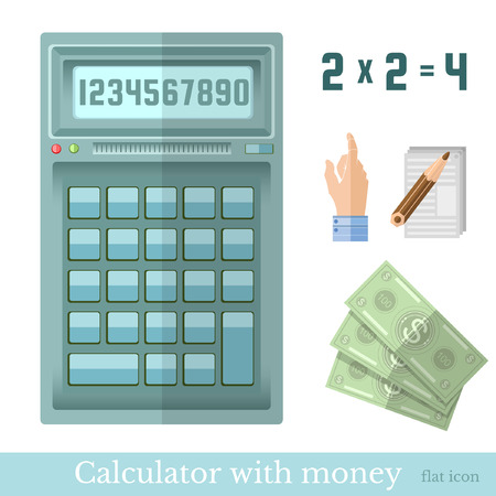 money in the hand: flat calculator with money hand pointer note