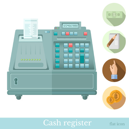 augmentation: flat cash register with circle icons bank note hand pointer coin note Illustration