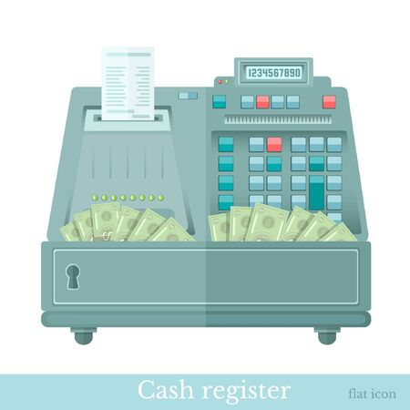 calculated: cash register with bank note from it Illustration