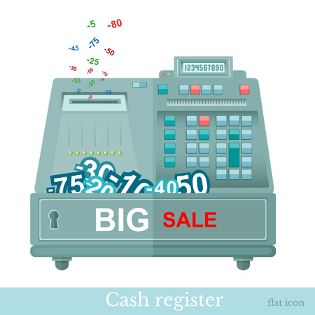 75 80: flat cash register big sale with numbers
