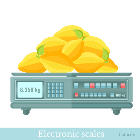 electronic balance: flat electronic balance or scales with lemons Illustration