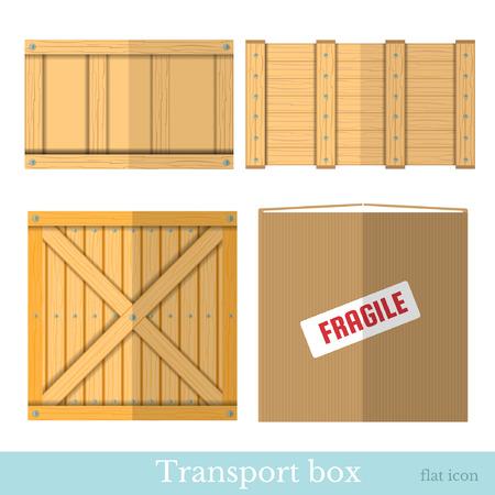 pannier: flat boxes for transportation Illustration