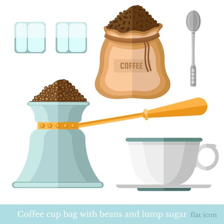 sugar spoon: flat coffee cup bag spoon lump sugar coffee beans turk on white