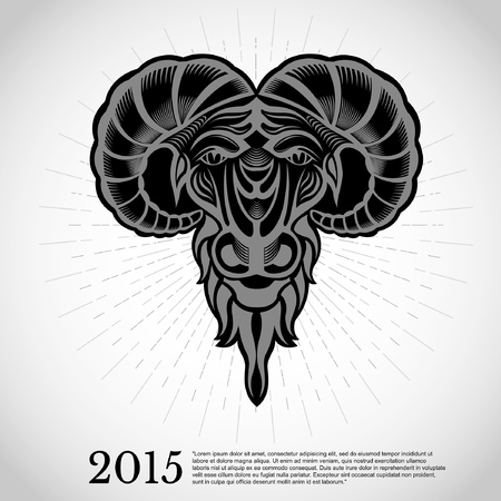 goat head: year new chinese symbol goat head engraving
