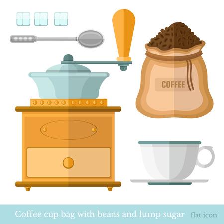 lump: flat coffee cup bag spoon lump sugar coffee beans  coffee mil on white