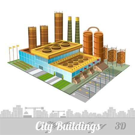 smokestacks: building of factory or plant with smokestacks yards tank and buildings on white