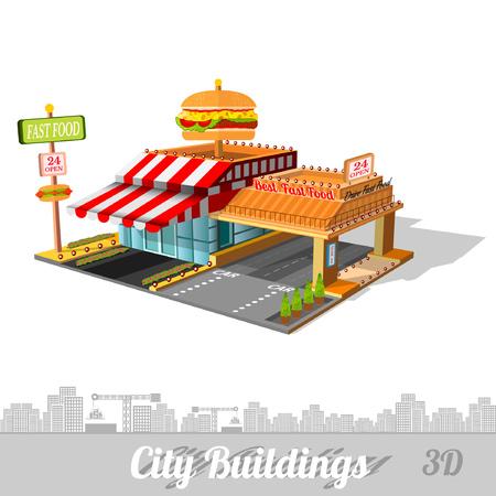 comida rapida: edificio de la comida rápida con la hamburguesa en el techo aislado en blanco