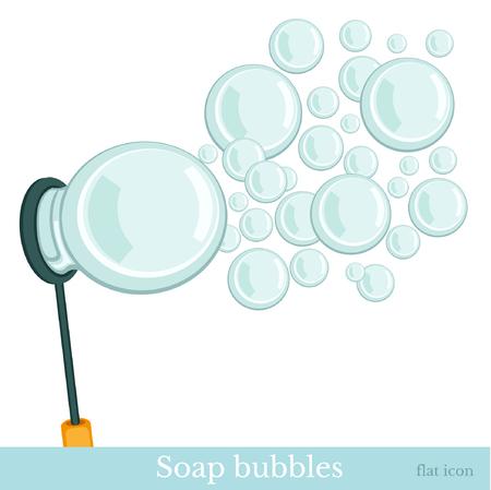 burbujas de jabon: jab�n de burbujas aisladas en blanco Vectores