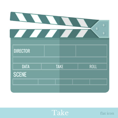 directors cut: flat movie clapper isolated on white