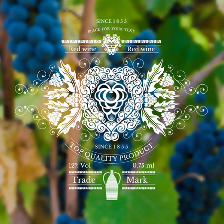 grapes: wine label with grapes pattern and vine on realistic background Illustration